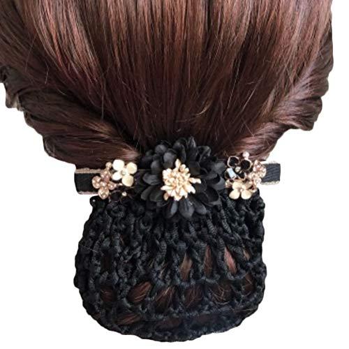 Frauen Professionelle Bowtie Mesh Elastische Brötchen Abdeckung Haarnetz Haarnetz Snood Haarschmuck Coarse Mesh Haarspange, Schwarz Lotus Coarse Mesh