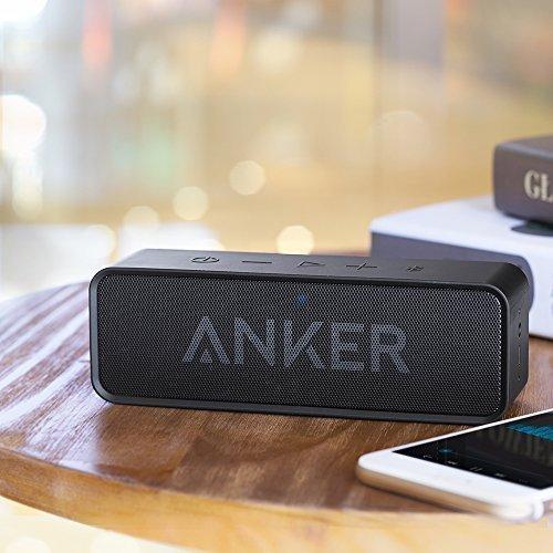 Anker SoundCore - Mobiler Bluetooth 4.0 Lautsprecher mit unglaublicher 24-Stunden-Akkulaufzeit und Dual-Treiber Wireless Speaker mit reinem Bass und eingebautem Mikrofon für iPhone, iPad, Samsung, Nexus, HTC und andere Android Geräte (Schwarz) -