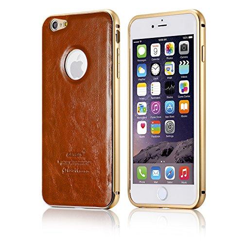 tinxi® Housse en cuir DERMIQUE ultra-mince pour Apple iphone 6 plus / 6S plus (5,5 pouces) étui case coque Couverture arrière avec Cadre en métal motif brun brun