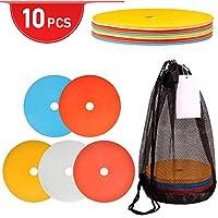 10uds Conos de Entrenamiento de Fútbol Conos de Disco para Entrenamiento con Bolsa de Transporte Marcadores de Disco Plano Blando(multicolor)