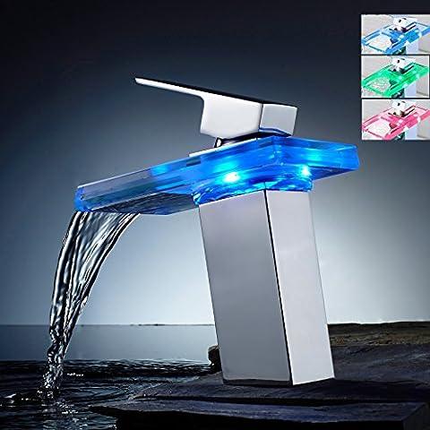 Curneal Robinet mitigeur de lavabo à lumière LED en verre avec capteur de température hydroélectrique Flux en cascade Fixation laiton