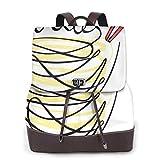Zaino Donna Vera Pelle Food Wok Noodles Scritto, Borsa da Viaggio a Grande Capacità, Borsa a Tracolla Lady Fashion Backpack Daypack per Scuola Viaggio Lavoro
