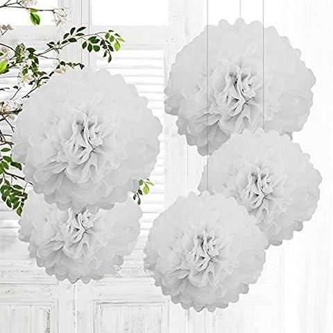 5 PCS Mixte Pompons en Papier de Soie, Boules Fleurs Papier DIY Décoration de Baby Shower Noce Mariage Fête Anniversaire Chamber - Blanc 25cm&35cm