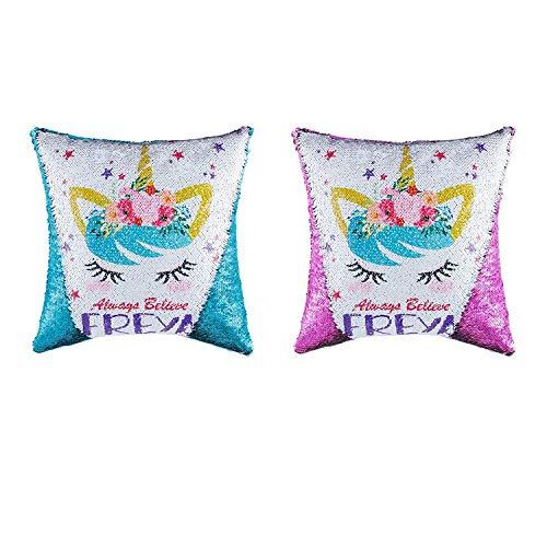 Topways® Unicorn Lentejuelas Throw Fundas de Almohada, Magic Reversible Color Cambiar Cojín Throw...