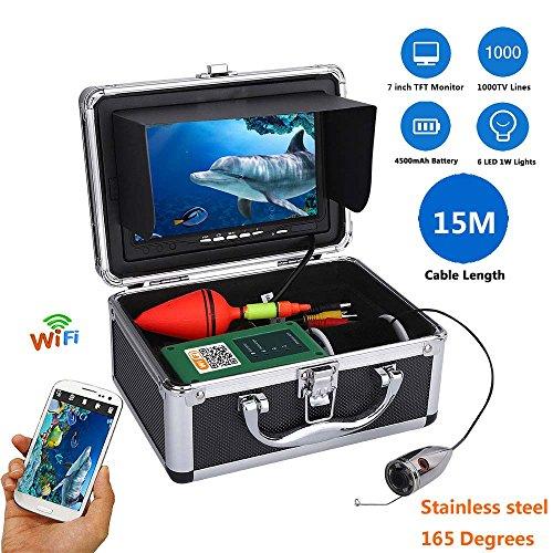 TQ 7Inch Farb Monitor 15M 1000Tvl Unterwasserfischerei Videokamera-Kit, HD WiFi Wireless Für IOS Android-APP Unterstützt Video-Aufzeichnung Und Machen Foto