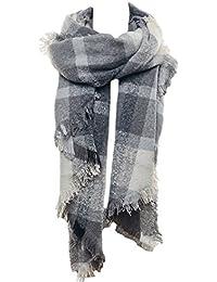 Mevina Karo Schal Oversized XXL mit Fransen und Wolle Kariert Winterschal Dreieck groß rechteckig Spitz Schal