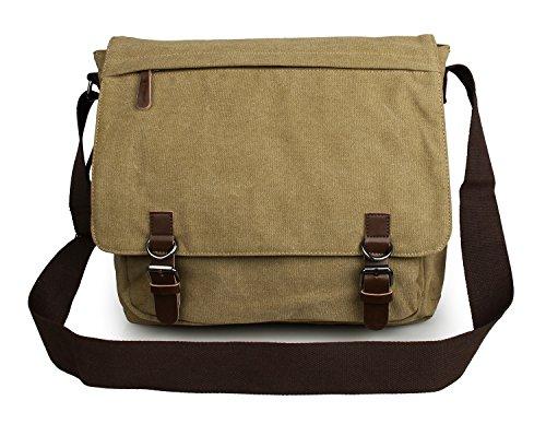 YAAGLE Herren Freizeit Kuriertasche Canvas Schultertasche Reisetasche Umhängetasche Hüfttasche-schwarz grün