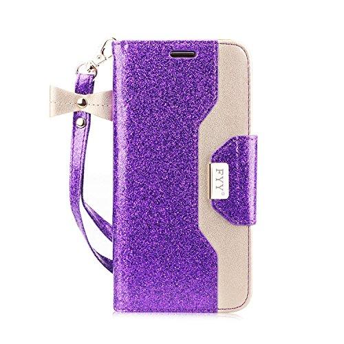 FYY Für Samsung Galaxy S7 Hülle,Galaxy S7 Hülle, Handyhülle Für Samsung Galaxy S7,[Premium PU Leder] Flip Wallet Tasche Hülle mit Standfunktion & innerer Spiegel für Samsung Galaxy S7-Bling Violett