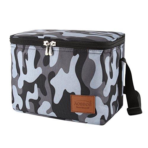 Aosbos borsa termica per il pranzo al sacco borsa tote riutilizzabile donna uomo 7.5l camuffamento grigio per uomo