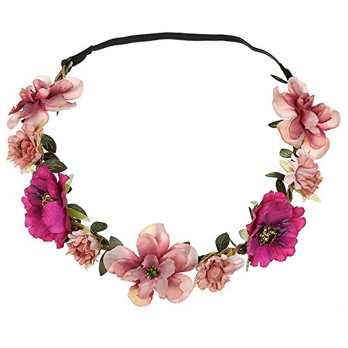 Damen Blumen Stirnbänder, TTWOMEN Festival Knoten Haarband Yoga Kopf Hochzeit Girlande Turban Haar Beach Party Zubehör (Rosa)