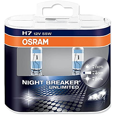 Osram 64210 Night Breaker Unlimited Lámpara Halógena de Faros, PX26d, 58 W, 12 V, 2 Unidades
