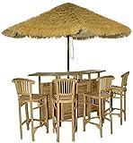 Teakholz Bargarnitur Set 5tlg Gartenmöbel Bar + 4 Stühle Hartholz Teak Strandbar