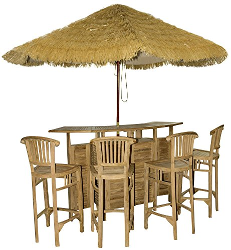 foolonli Teakholz Bargarnitur Set 5tlg Gartenmöbel Bar + 4 Stühle Hartholz Teak Strandbar -