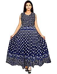 Jwf Women's Cotton Long Dress (FR_4918 _Multi-Coloured_ Free Size)