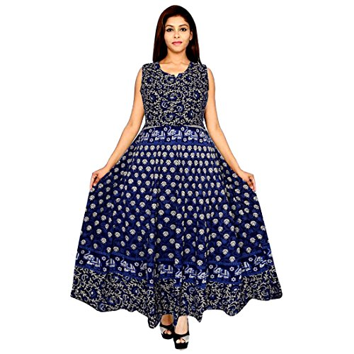 91fe2e42a9df ... JWF Women s One Piece Jaipuri Print Cotton Long Dress - Free Size Pure  Cotton Women s Maxi