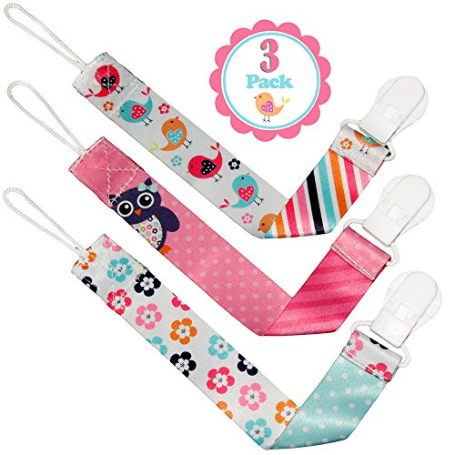 Dummy Clip Girls by Liname - 3 Pack - Premium Quality Universal Dummy Holder With Adorable 2-Sided Stylish Design – Soother Holder - Best Girls Dummy Clips For Your Favourite Dummy Brand Test