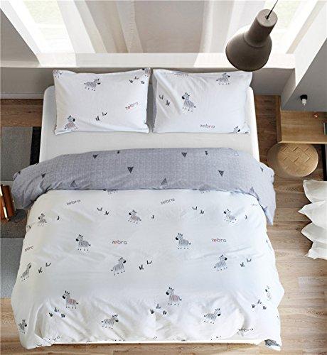 Wondder Kinder Bettbezug Set Tröster Cartoon gedruckt Baumwolle Bettwäsche-Set (Zebras, 220 * 230cm) -
