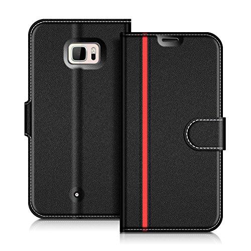Coodio HTC U Ultra Hülle Leder Lederhülle Ledertasche Wallet Handyhülle Tasche Schutzhülle mit Magnetverschluss / Kartenfächer für HTC U Ultra, Schwarz/Rot