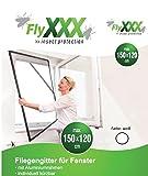 FlyXXX Fliegengitter für Fenster mit Aluminium Rahmen 100 x 120 cm 120 x 150 cm braun weiß (120x150 cm, weiß)