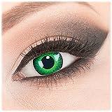 Farbige 'Shining' Kontaktlinsen von 'Evil Lens' zu Fasching Karneval Halloween 1 Paar Grün Crazy Fun mit Behälter in Topqualität mit Stärke -6,00