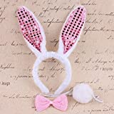 #4: Partymane Girl's Cosplay Costume Rabbit Bunny Ears Hair Hoop Headband and Bowtie Tail Set (White with Pink Ears Glitter)