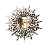 HZJ Miroir décoratif européen Moderne en Forme de Soleil à Suspendre au Mur pour cheminée, Restaurant, Salon, entrée (Couleur : Champagne, Taille : 85 cm 85 cm), Ancient Silver, 71 * 71cm