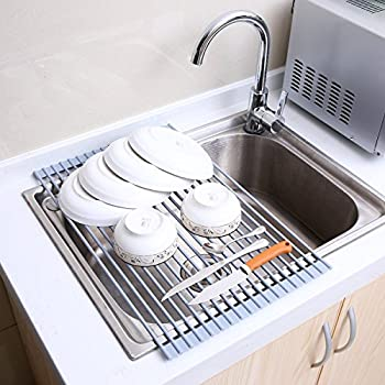 Dish Drainer, Ohuhu Roll Up Dish Drying Rack Stainless Steel Foldable Over  Sink Rack Detachable Dish Rack Drying Rack Dish Drainer