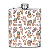 Sweet Ice Cream, Lollipop, Strawberry Stainless Steel Flask Portable 7OZ Hip Flask Camping Wine Pot Whiskey Wine Flagon Mug