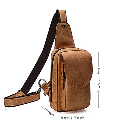Alongdun Männer Brusttasche aus echtem Leder Crossbody Umhängetasche Sling Taschen Rucksack Umhängetasche Hellbraun