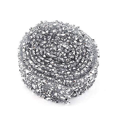FTVOGUE 1 Yard 3 cm Breite funkelnden zurück kleber Silber ab Farbe kristall Strass Band dekorative Banding gürtel(Silver) -