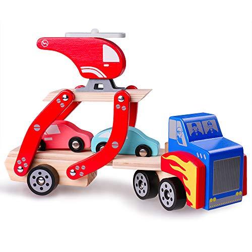 Rolimate Autotransporter aus Holz Spielzeug,abnehmbarem Anhänger Hubschrauber und 2 Autos,Lastwagen für Kinder Holzspielzeug 1 2 3 Jahre Jungen Geschenk(30 x 13 x 8 cm)