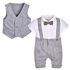 Idea Regalo - ZOEREA appena nato del bambino che babys dei vestiti dei bambini dei capretti giacca corta signore cotone manica Carino pagliaccetto tuta della maglia di Bowknot Cravatta Abbigliamento