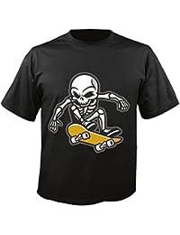 """T-Shirt """"Skull Skateboard Skateboard Fahrer Skater- Totenschädel - Totenkopf - Schädel - Rocker - Biker"""" in Schwarz"""