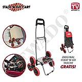 Stair´n Go Cart® klappbarer Einkaufs Trolley mit 6-Rad-Mechanismus, klappbar Tragkraft 20 kg GRATIS Tasche dazu für alle - Original aus TV-Werbung
