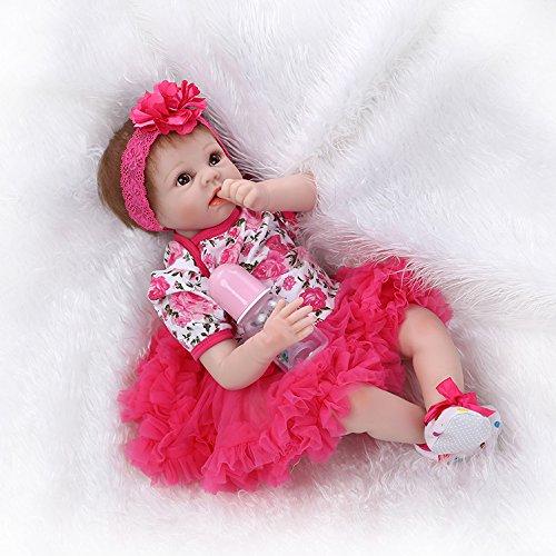 Nicery Neugeboren Baby Puppe Weich Silikon Vinyl 22inch 55cm Magnetisch Mund Naturgetreue Jungen Mädchen Spielzeug Rote Blume Reborn Doll A3DE (Blumen-mädchen-kleider Designer)