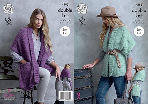 King Cole Damen Doppeltes Strickmuster Damen Leicht Knit Gerippter Wrap Poncho Embrace DK (4585) (Gerippte Poncho)