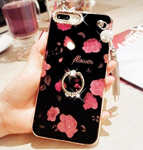 iPhone 6kristall TPU Fall, inspirationc Diamant Iphone 6S Schutzhülle Bling Glitzer Strass Soft Silikon Gummi Bumper Hülle mit 360Ring Ständer für iPhone 6/6S iPhone 6/6S [4.7 Inch] Pendant Rose (Iphone-ring-fall)