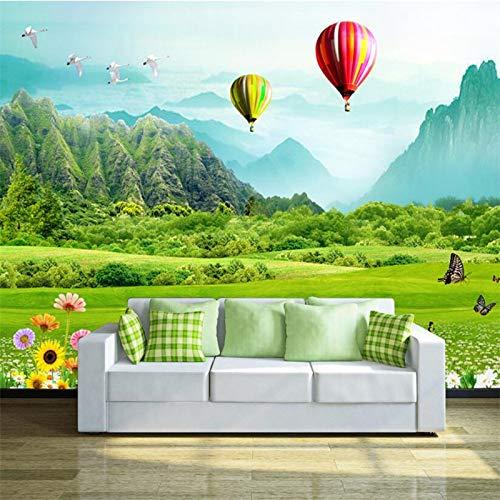 Amazhen Frisches Grasland-Heißluft-Ballon 3D Fernsehhintergrund Tapetetapete3Dbehang,400cmx644cm