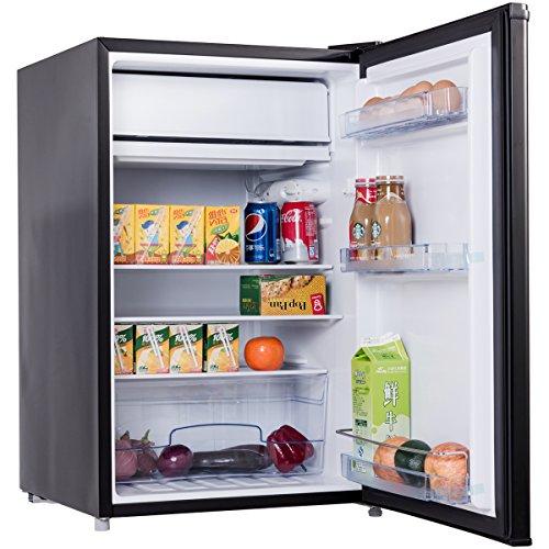 COSTWAY Mini Kühlschrank Mit Gefrierfach Kühl Gefrier Kombination A+ 123L  Schwarz