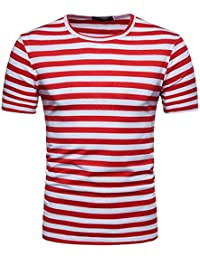 Pollover Camiseta Niños Tees Camiseta Térmica de Compresión Camiseta de Verano Para Hombre Casual Raya Jersey de Cuello…