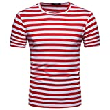 Herren T-shirt,Sonnena Men es Summer Casual Stripe Rundhals Pullover T-Shirt Top Bluse Polyester/Kurzarm/O-Neck/Stripe/Fashion & Sport/1st Tops (M, Gut Rot)