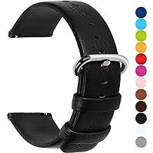 12 Colores para Correa de Reloj,Fullmosa®Uli Piel Correa Huawei Samsung Correa/Banda/Band/Pulsera/Strap de Recambio/Reemplazo 18mm 20mm 22mm 24mm,Negro 22mm