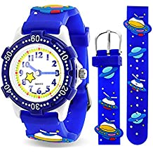 Bling Jewelry Reloj Azul Analógico para Niños Acero Inoxidable con Diseños de Naves Espaciales y Planetas