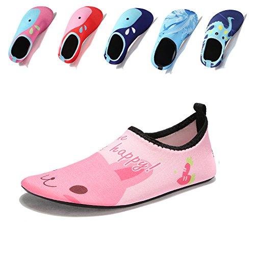 Laiwodun Badeschuhe für Kinder, für Mädchen und Jungen, für den Strand, das Schwimmbad oder zum Surfen, Pink - rose - Größe: 22-23 EU