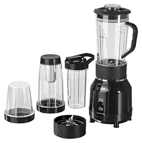 GOURMETmaxx 00772 Nutrition Mixer Pro | mit Heizfunktion |inkl. Rezeptheft & To-Go Becher | Ideal für Suppen & Smoothies | 12 teiliges Set | 8 Funktionen | 700 Watt | Schwarz