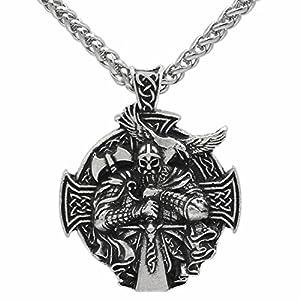 Detaillierte 3D Viking warrior Schwert und Axt – Schutz Keltisches Kreuz Steampunk Mjölnir skandinavischen Raven Runen heidnisch Fenrir Nordic Anhänger Halskette – Edelstahl Kette