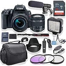Canon EOS Rebel SL2 DSLR With 18-55mm Lens (Black) Kit + Pro LED Light + Stereo Mic + Gadget Bag +3 Piece Filter Kit + Premium Accessory Bundle