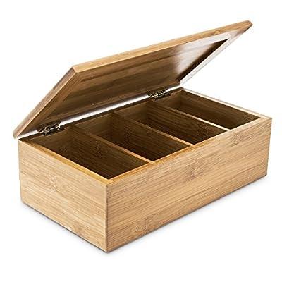 Relaxdays Boîte à thé avec couvercle en bambou 4 compartiments 80 sachets de thé HxlxP 9 x 28,5 x 16 cm Rangement couvercle, nature
