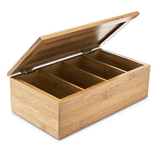 Relaxdays Teebox HBT: 9 x 28,5 x 16 cm Teekiste aus Bambus mit aufklappbarem Deckel Teedose mit 4 Fächern für circa 80 Teebeutel als Teebeutelbox und Schmuckkästchen aus Holz kein Aromaverlust, natur (Gewürz-fach Holz)