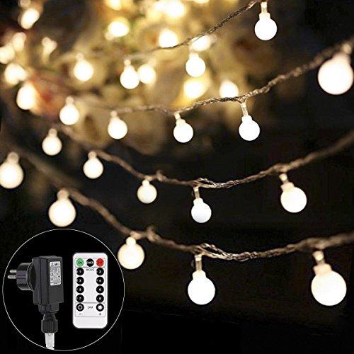 be Lichterkette, LED lichterkette warmweiß, Globe String Licht Sternenlicht mit Fernbedienung, Innen- und Außen Weihnachtsbeleuchtung für Weihnachten, Hochzeit, Weihnachtsbaum (Außen-lichterketten)